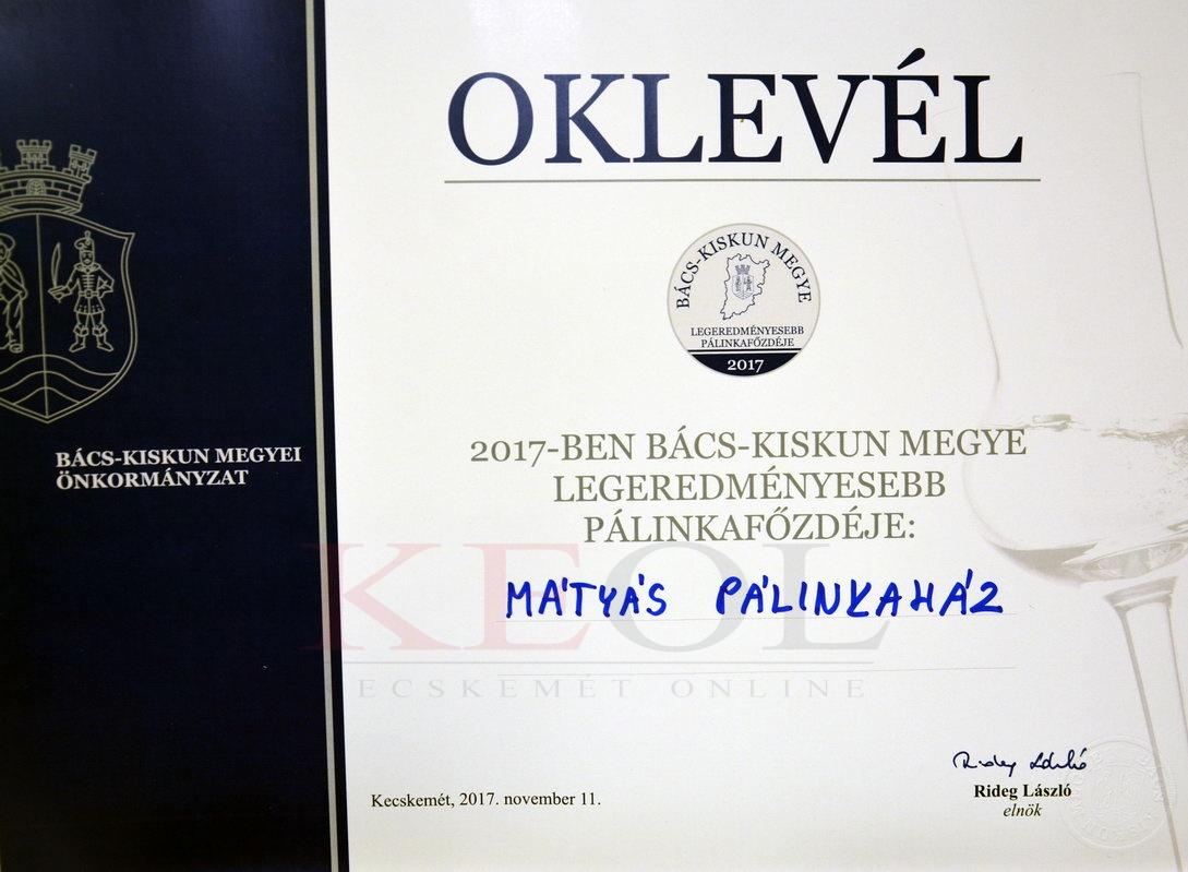 Harmadszor lett a Mátyás Pálinkaház Irsai Olivér pálinkája a megye szőlőpálinkája